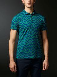 DESCENTE GOLF (デサントゴルフ)・【MOTION3D】ポリエステル鹿の子市松柄プリントシャツ